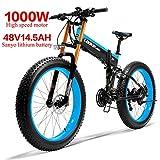 LANKELEISI 750PLUS 48V14.5AH 1000W Motor Bicicleta eléctrica con Todas Las Funciones 26''4.0 Bicicleta de montaña de Nieve de 27 velocidades Plegable Bicicleta Adulta(Azul)