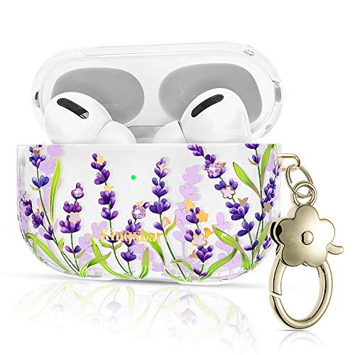 Queenxbar Lavender Airpods Pro Case Cover, Airpods 3 Floral Print Cute Case Shockproof Clear PC Airpods Cover Sparkle Crystals with Flower-Shaped Clip for Women/Girls(Front LED Visible)