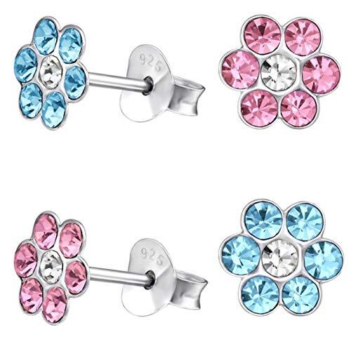 Kristall Blume Ohrstecker 925 Echt Silber Ohrringe Kinder Mädchen Geschenkidee (1) 2 Paar Blau + Rosa)