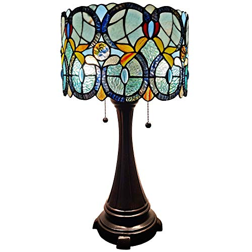Amora Lighting Tiffany Style Table Lamp Banker Floral 21' Tall Stained Glass White Green Red Yellow Blue Vintage Antique Light Décor Nightstand Living Room Bedroom Handmade Gift AM286TL12