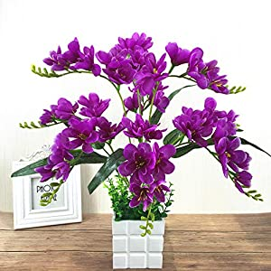 Adoolla Artificial Freesia Flower with 9 Branches for Home Living Room Decor Purple