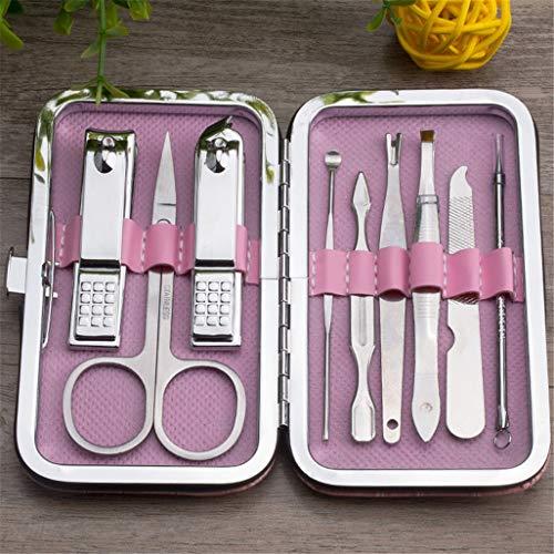 Nail Clipper Care Set 9 Pieces Family Dagelijks gebruik Hand en Voetverzorging Gezichtsverzorging scherp en duurzaam RVS materiaal inzake gezondheid en veiligheid,Pink