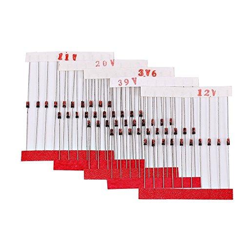 DollaTek 300Pcs (2V ~ 39V) 30 valores 1 / 2W 0.5W Conjunto de diodos Zener Kit de Surtido Mixto