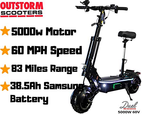 OUTSTORM 68MPH High Speed Electric Scooter for Adults Foldable, 5000W Peak Power Dual Motor 60V/ 26-38.5Ah Battery, 56-83 Miles Range, 60° Grade (Black / 5000w motor / 38.5Ah Battery / 83 miles range)