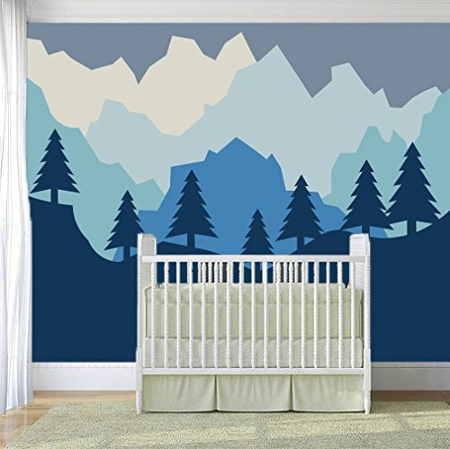 Baby REMOVABLE and REUSABLE Peel and Stick Kids Fabric Mountain Wall Decals Wall Decals Nursery