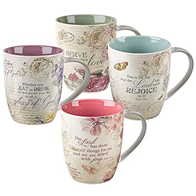 Christian Art Gifts Ceramic Coffee/Tea Mug Set for Women | Vintage Botanic Floral Inspirations Design Bible Verse Mug Set | Boxed Set/4 Coffee Cups