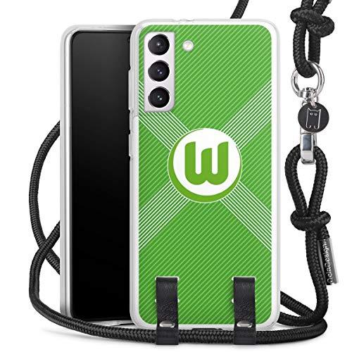 DeinDesign Carry Case kompatibel mit Samsung Galaxy S21 5G Hülle mit Kordel aus Stoff Handykette zum Umhängen schwarz VFL Wolfsburg Trikot Fanartikel