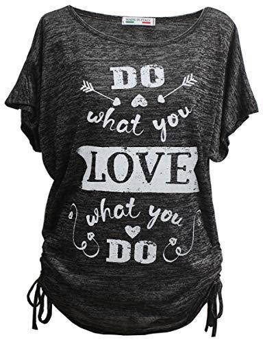 Emma & Giovanni - Sommer T-Shirt/Oberteile Kurzarm - Damen (Schwarz, DE 38/40 (Herstellergröße M))