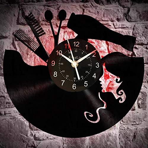 wtnhz LED Reloj de Pared de Vinilo Colorido Vintage Disco de Vinilo Reloj de Pared peluquería peluquería salón de Belleza Disco de Vinilo Colgante de Pared Arte Decoraciones único Loco