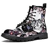 Women's Work Combat Boots Waterproof boots,Flower and skull