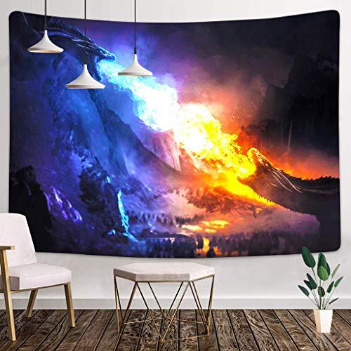 JIPMFYA tapizLuna Estrellas Tapiz Colgante de Pared Hippie dragón Bosque psicodélico Granja decoración tapisserie Playa Bohemio Personalizado