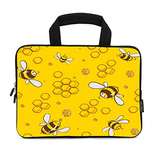 12 Inch Laptop Sleeve Carrying Bag Protective Case Neoprene Sleeve Tote Tablet Cover Notebook Briefcase Bag with Handle for Women Men(Yellow Bee,12')
