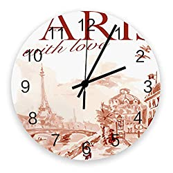 12-Inch Indoor Silent Non-Ticking Wall Clock Paris Eiffel Tower Battery Operated Home Decor Wall Clock for Living Room/Kitchen/Office