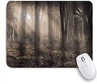 マウスパッド 個性的 おしゃれ 柔軟 かわいい ゴム製裏面 ゲーミングマウスパッド PC ノートパソコン オフィス用 デスクマット 滑り止め 耐久性が良い おもしろいパターン (太陽光線と霧のヴィンテージノスタルジックな色のファンタジーアートのある暗い森)