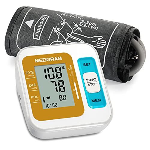 Misuratore Pressione, MEDGRAM Pressione Misuratore Braccio Professionale, Sfigmomanometro da Braccio Pressione Arteriosa Digitale, Rilevazione dell'aritmia,Grande Schermo LCD, 2*120 Memoria Bp Machine