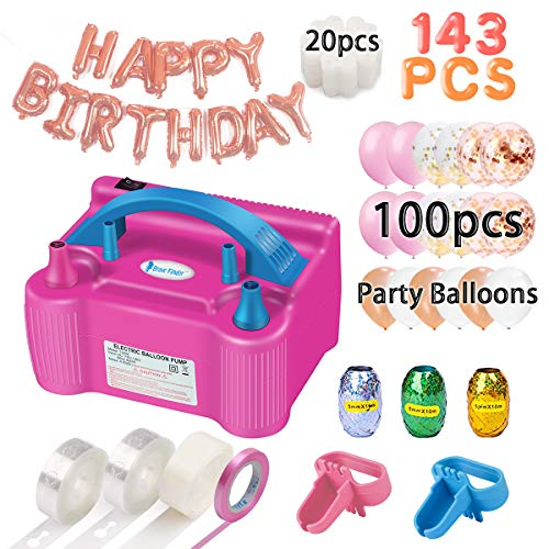 Balloon Pump, Party Balloons 12 Inches Kit (100 Pack), Portable Dual Nozzle 110V 600W with Tying Tools, Colored Ribbon for Party Birthday Wedding Festival Balloon Arch Supplies, Decoration Accessory