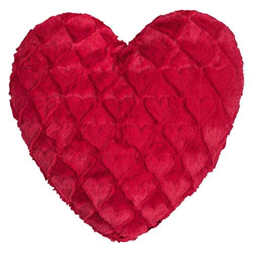 MAGMA Dekokissen Fluffy Hearts rot, Dekokissen gefüllt 40x35 cm