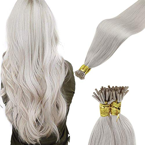 Laavoo Itip Hair Extensions Human Hair Blonde Pre Bonded I Tip Straight Human Hair Stick Tip Fusion Hair Extensions Platinum Blonde Pre Bonded Itip Bead Hair Extensions Blonde 18inch 50g 1g/strands