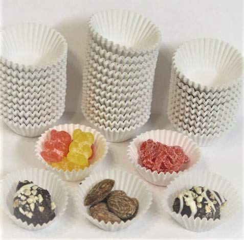 Decony Mini White Baking Cups candy cups 1' X 3/4' 1000/Pack - for mini cupcakes , nuts, truffles, chocolate , strawberries, and candy