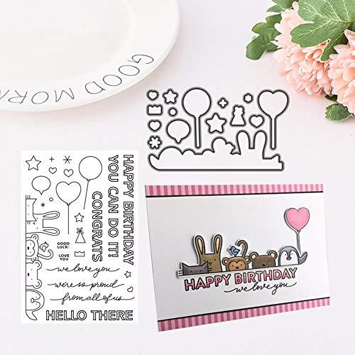 Feliz cumpleaños troqueles y sellos de corte de metal DIY Scrapbooking Paper Stencil Handmade Paper Craft Scrapbook Manual Decoration, solo sellos