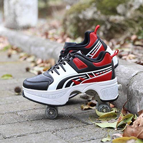 LRZ Deformación Zapatos Multifuncionales Patines Adecuados De Cuatro Ruedas Patinaje Calzado Deportivo De Regalo Seguro Y Duradero para Principiantes Niños Niñas,36