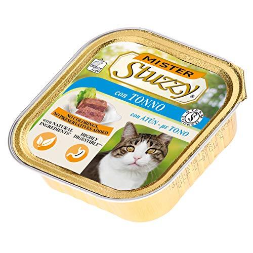 Stuzzy Mister, Comida húmeda para Gatos Adultos, Sabor atún, línea paté y Carne en trozos - Total 3,2 kg (32 tarrinas x 100 gr)