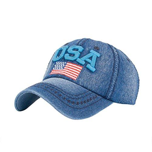 Denim Kappe Sommer Mode Unisex, Sunday Frauen Männer USA Denim Strass Baseballmütze Snapback Hip Hop Flachen Hut (Blau)