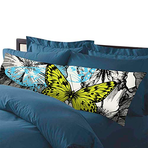 Fhdang Decor Blooming Roses and Flying Butterflies Hand Drawing Body Pillowcase with Zipper Closure Maternity Pregnancy Long Body Pillow Cover 20' x 54'