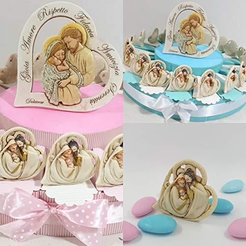 Bomboniere sacra famiglia cuore a torta porta confetti cuore stilizzato (celeste, 20 fette)