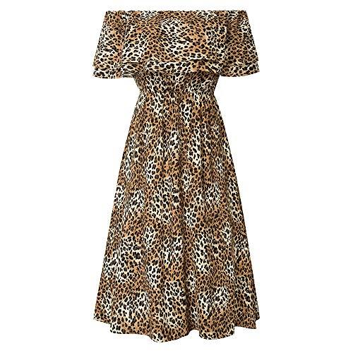 Grace Karin Dames zomer casual jurk ruches bedrukt off schouder elastische taille midijurk