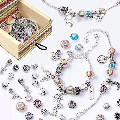 LABOTA - Juego de pulseras para niñas, diseño de pulseras con dijes, colgantes de plata con cuentas de arco iris, cadenas para joyería, artes y manualidades, para niñas y adolescentes regalos