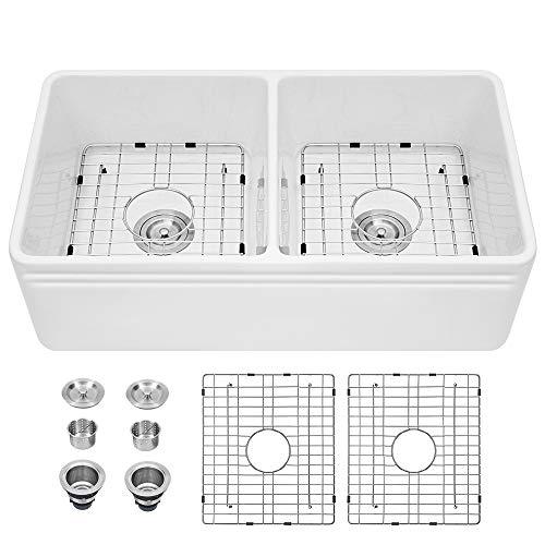 White Farmhouse Sink - Sarlai 33 Inch Kitchen Sink Apron Front Double Bowl 50/50 White Porcelain Ceramic Fireclay Kitchen Farm Sink