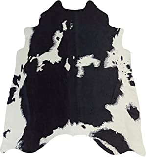 black and white cow rug