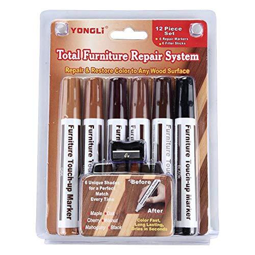 12 en 1 Stylo de Retouche de Meubles - Retouche Rayures Restaure & Réparation marqueur Peinture stylos pour Meubles en Bois éraflure Réparation