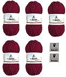 Myboshi No. 1, Merino-Wolle Mix im 5er Set Vorteilspack, Bordeaux (Fb.-Nr.:135) Handstrickgarn, Häkelgarn, Mützenwolle zum Häkeln und Stricken, inkl. 2 myboshi Label