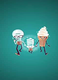 Rectangle Refrigerator Magnet - Funny Light Bulb & Ice Cream Cone Family Makes Fluorescent Bulb Baby
