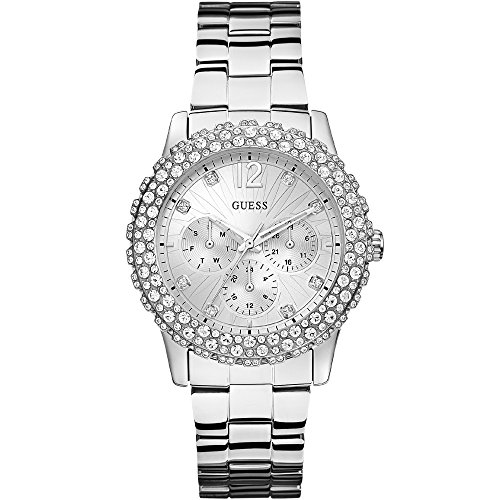 GUESS dames zilveren armband horloge met kristal detail