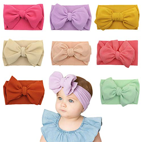 DoGeek Nylon Headbands Baby 8 Pcs Baby Girl Hairbands and Bows Newborn Infant Toddler Hair Accessories (Apparel)