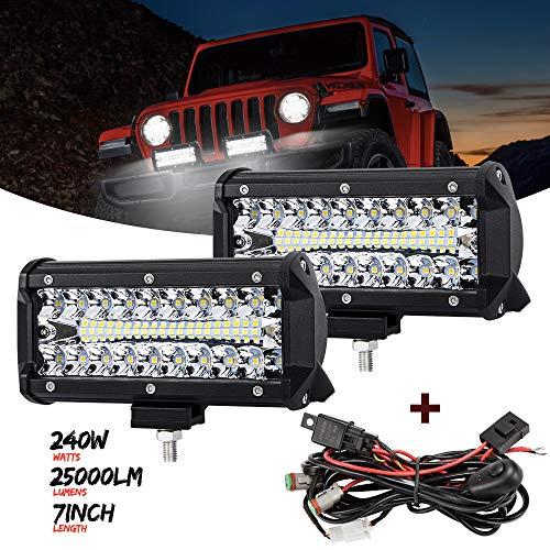 7 Inch LED Pods Light, 120W Spot Flood Combo Beam 16000LM Triple Row