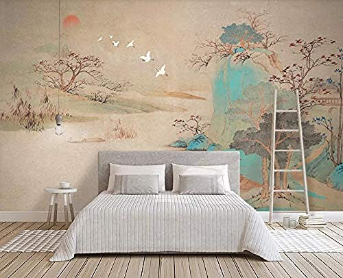 Carta da parati 3D Muro Paesaggio Albero Di inchiostro beige Dipinti a mano Fotomurali Murali 3D moderno carta da parati fotomurali murale vintage-250cm×170cm