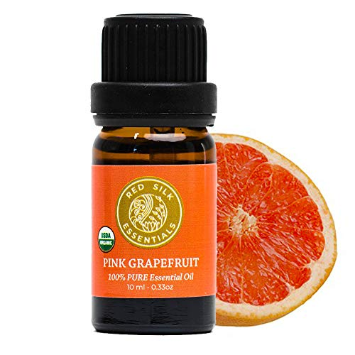 Red Silk Essentials USDA Organic Pink Grapefruit Essential Oil, Pure Natural Aromatherapy for Energy, Weight Loss, Mood - 10 ml