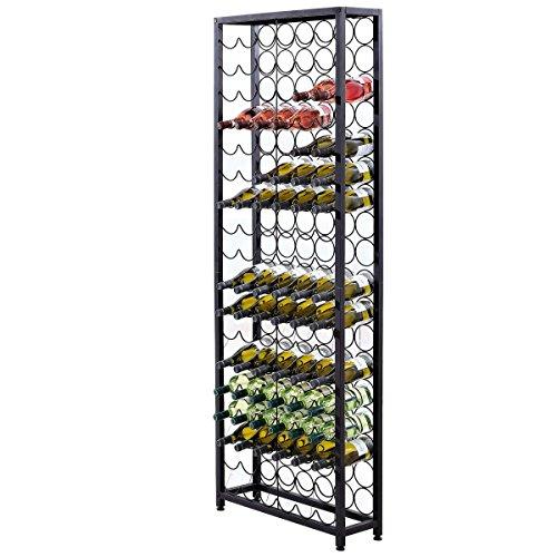 Pureday Weinregal für bis zu 108 Flaschen Metall Schwarz ca. B65 x T24 x H189 cm