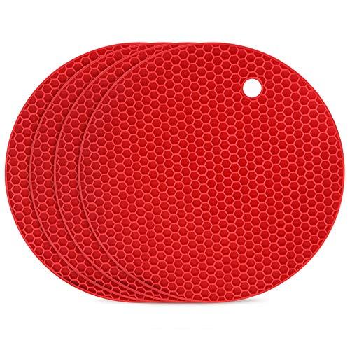 flintronic Topf Untersetzer 4pcs Silikon Topflappen Topfuntersetzer Spülmaschinenfest Hitzebeständigerung Rutschfest und Hitzebeständig bis 250°C, Wabenmuster - Rot