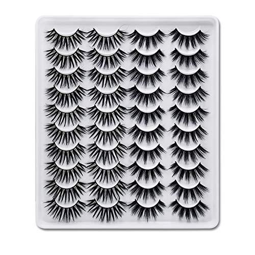 Greatlizard 20 Paare Falsche Wimpern GefäLschte Wimpern Lange, Dicke, Lockige, Dramatische, NatüRliche Volumen-WimpernverläNgerung 3d-Make-Up-Kit (MC05)