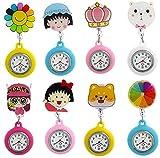 LLGG Reloj De Bolsillo Enfermera Prendedor Broche,Reloj de Cuarzo retráctil de Dibujos Animados, Reloj de mujer-62,ParaméDico Doctores Reloj MéDico