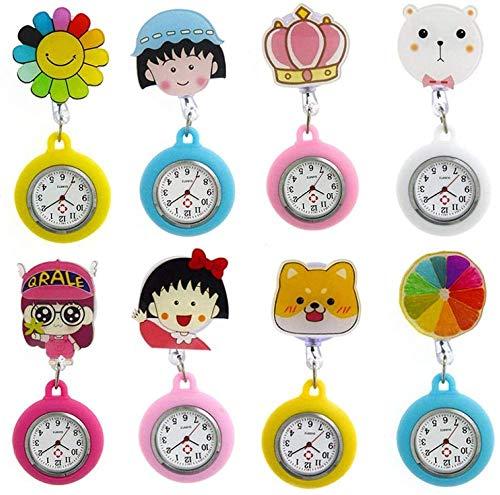 LLGG Reloj De Bolsillo De Cuarzo A Prueba De Agua,Reloj de Cuarzo retráctil de Dibujos Animados, Reloj de mujer-20,Reloj MéDico De Bolsillo Colgante