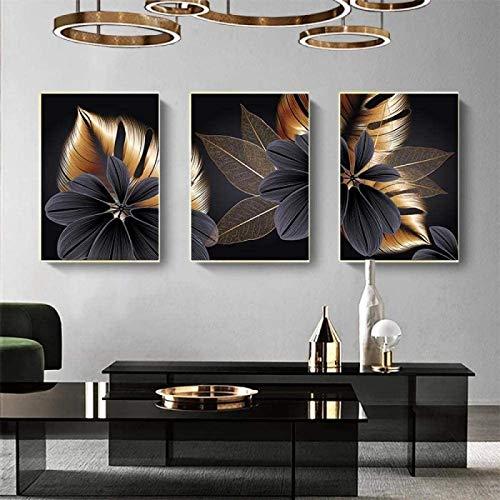 SXXRZA Druck auf Leinwand 3 Stück 60x80cm Kein Rahmen Schwarz Golden Pflanzenblatt Leinwand Poster Druck Bild Wandkunst Gemälde Wohnzimmer Dekor