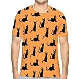 Camiseta de Manga Corta con Cuello Redondo y Estampado Lindo de Gatos Negros Camisetas de Verano L
