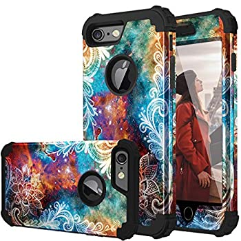 iPhone 6s Case iPhone 6 Case Fingic Floral 3 in 1 Heavy Duty Protection Hybrid Hard PC & Soft Silicone Rugged Bumper Anti Slip Full-Body Shockproof Protective Case for Apple iPhone 6S/6 Mandala