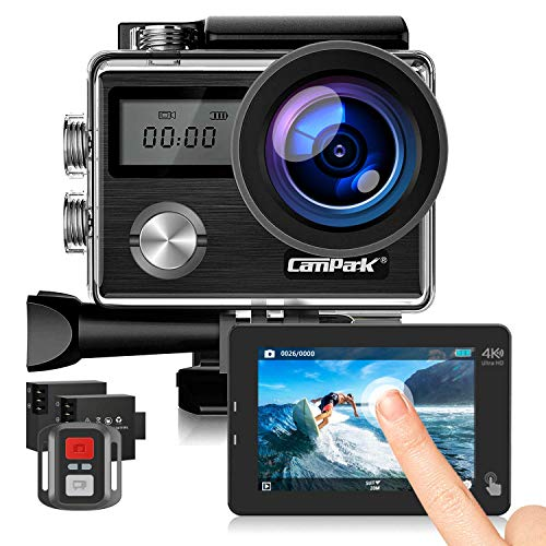 Campark X20C Action Camera Native 4K Ultra HD 20MP with EIS Stabilization Touch Screen Remote Control Waterproof Camera 40M 2 Batteries and Professional Accessories (Camera + 32GB Memory Card)